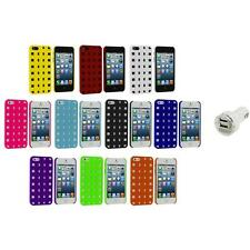 Basket Weave Hard Rubberized Case Cover+Dual Charger for Apple iPhone 5 5S 5th