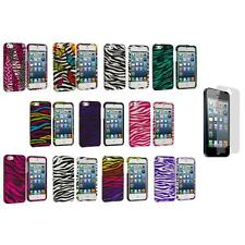 Zebra Design Hard Snap-On Rubberized Case Cover+Screen Protector for iPhone 5 5S