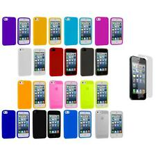 Color Silicone Gel Rubber Soft Skin Case Cover+3X LCD Protector for iPhone 5 5S