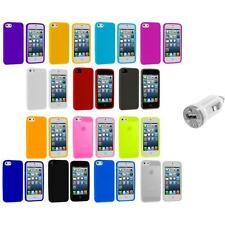 Color Silicone Gel Rubber Soft Skin Case Cover+USB Charger for iPhone 5 5S