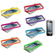 Solid TPU Bumper Frame Case Cover Metal Buttons+Screen Protector for iPhone 5 5S