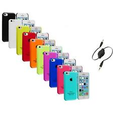 For iPhone 5C Crystal Hard Snap-On Ultra Thin Back Case Cover+Aux Cable