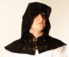 Medieval-Larp-Re enactment-Archer-Cosplay-BLACK LEATHER TWO BUCKLE HOOD COLLAR