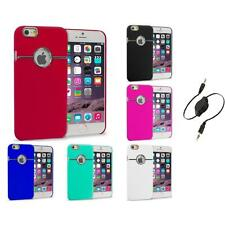 For iPhone 6 Plus (5.5) Hard Deluxe Chrome Rear Slim Case Cover Aux Cable