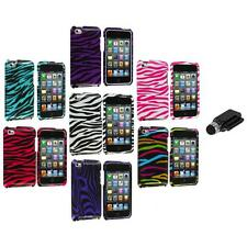 Zebra Design Hard Case Cover Accessory+Dock Stylus for iPod Touch 4th Gen 4G 4