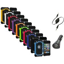 Color Deluxe Hybrid Hard Case Cover+Aux+Charger for iPod Touch 4th Gen 4G 4