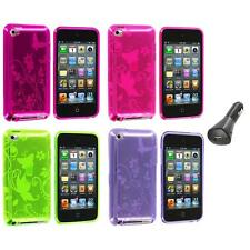 Butterfly Flower TPU Rubber Case Cover+Car Charger for iPod Touch 4th Gen 4G 4