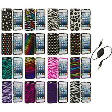 Zebra Polka Dot Hard Design Case Cover+Aux Cable for iPod Touch 5th Gen 5G