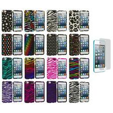 Zebra Polka Dot Hard Design Case+3X LCD Protector for iPod Touch 5th Gen 5G