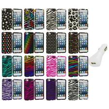 Zebra Polka Dot Hard Design Case Cover+White Charger for iPod Touch 5th Gen 5G