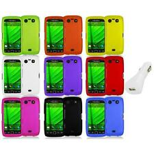 Color Hard Rubberized Case Cover+White Charger for Blackberry Torch 9850 9860