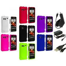 Color Hard Rubberized Case Cover+3X Chargers for HTC Droid Incredible 6300