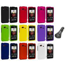 Color Hard Case Cover Accessory+Car Charger for HTC Droid Incredible 4G LTE