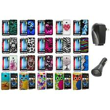 Design Hard Rubberized Snap-On Case Cover+2X Charger for HTC One M7 Accessory