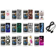For HTC One Mini M4 Design Hard Snap-On Case Skin Cover Accessory+Headphones