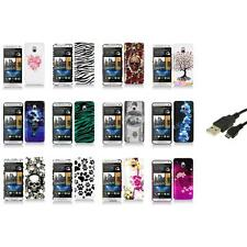 For HTC One Mini M4 Design Hard Snap-On Case Skin Cover Accessory+USB Cable
