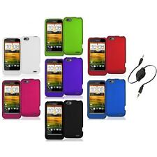 Color Hard Snap-On Rubberized Case Cover Accessory+Aux Cable for HTC One V