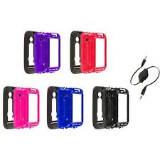 Hybrid Rugged Hard/Soft Case Cover Stand+Aux Cable for Huawei Ascend 2 II M865