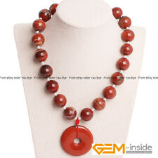 Handmade 16mm Natural Red Jasper Gemstone Round Beaded Necklace Jewelry 16""