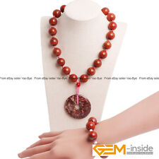 Handmade 16mm Red Jasper Round Beaded Necklace & Bracelet Fashion Jewelry Set