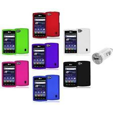 Color Hard Snap-On Skin Case Cover+USB Charger for LG Optimus M+ Plus MS695