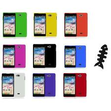 For LG Spirit 4G MS870 Color Hard Snap-On Rubberized Case Cover+Cable Wrap