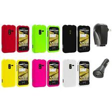 Color Hard Snap-On Rubberized Case Cover+2X Chargers for Samsung Conquer 4G D600