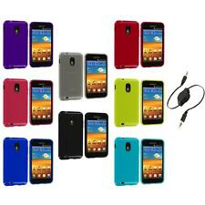 TPU Plain Case Cover+Aux Cable for Samsung Sprint Galaxy S2 S II Epic Touch 4G