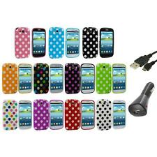TPU Polka Dot Case Cover Accessory+Charger+USB for Samsung Galaxy S3 S III i9300
