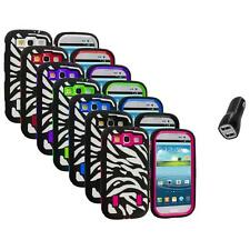 Zebra Hybrid Case Cover+Built Protector+2.1A Charger for Samsung Galaxy S3 S III