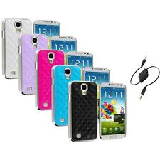 Leather Quilted Chrome Case Cover+Aux Cable for Samsung Galaxy S4 S IV i9500