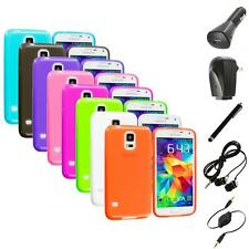 For Samsung Galaxy S5 SV TPU Transparent Color Soft Case Cover+Accessories