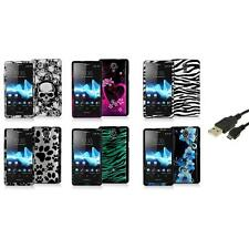 Design Hard Snap-On Case Cover+USB Cable for Sony Ericsson Xperia TL LT30at