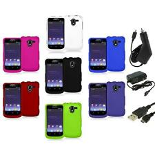 Color Hard Rubberized Case Cover+3X Chargers for ZTE Avid 4G N9120 Metro PCS