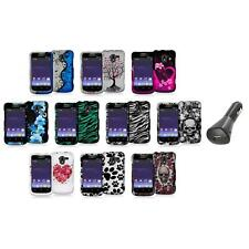 Design Hard Snap-On Rubberized Case Cover+Car Charger for ZTE Avid 4G N9120