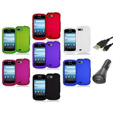 Color Hard Snap-On Rubberized Case Cover Accessory+Charger+USB for ZTE Fury N850