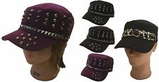 Lady Women Cadet Box Cap Army Military Fashion Castro Metal Rivet Wool Hat Cap