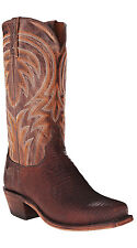 Lucchese M2904 74 Mens Antique Tan Lizard & MD Goat Leather Western Cowboy Boots