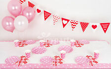 Birthday Party Supplies Heart Dots Plates Cups Napkins Bunting Tablecloth Pink