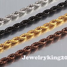 "Breathtaking 5mm Stainless Steel French Rope Chain Exquisite Necklace 16"" to 40"""