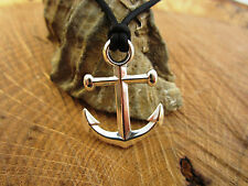 Anchor Necklace - Genuine Leather Cord and Pure Sterling Silver - Mens/Womens