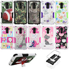 LG G Stylo LS770 Dual Layer Impact Armor Hybrid Kick Stand Cover Case + Film