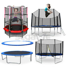 """12/14FT 55"""" Outdoor Spring Trampoline with Mesh Padded Safety Spring Round Cover"""