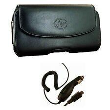 New Car Charger and Black Belt Clip Holster Horizontal Pouch Case for Cell Phone