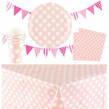 PARTY SUPPLIES POLKA DOTS TABLEWARE PLATES,CUPS,NAPKINS,BUNTING TABLECLOTH PINK