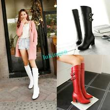 Plus Size Womens Square Heels KNEE HIGH Zipper Boots Buckle Belt Riding Boots Sz