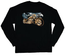long sleeve t-shirt for men eagle choppers biker style graphic tee shirt
