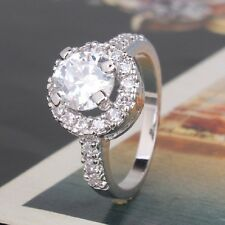 2ct Simulated Diamond Real18k White Gold Plated Women Engagement Ring