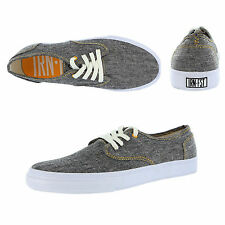 Iron Fist Mens Winston Plimsoles Charcoal Grey Lace Up Chambray Trainers Shoes