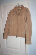 COLDWATER CREEK ~ 100% LEATHER SUEDE TAN SHORT JACKET WOMENS Large Zipper FRONT
